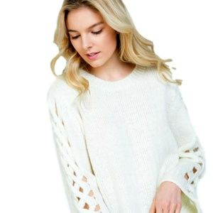 Fuzzy White Sweater Lace up hollow out sleeve